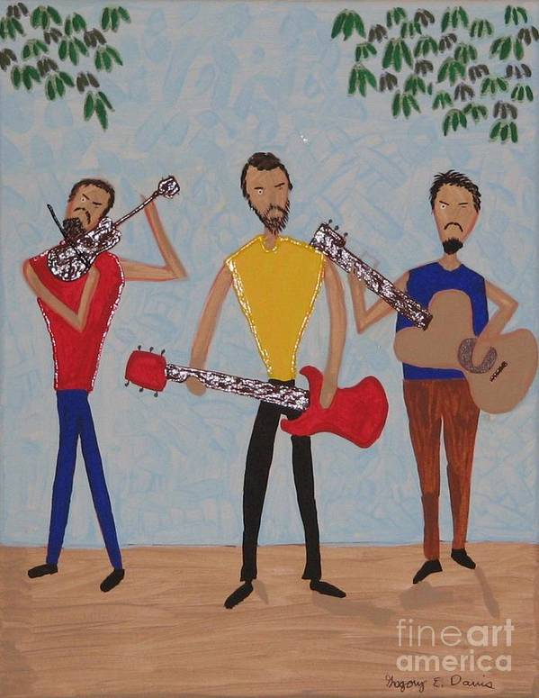 Singing Poster featuring the painting Three Musicians by Gregory Davis