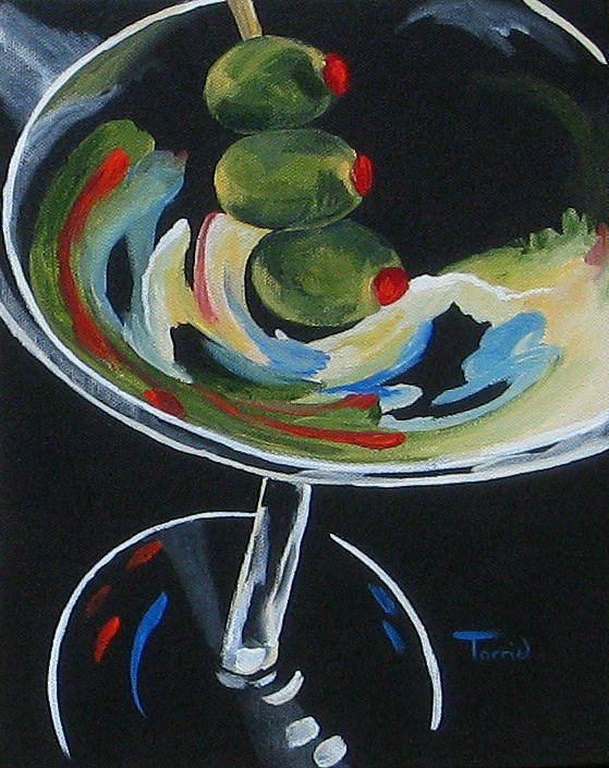 Martini Poster featuring the painting Three Olive Martini V by Torrie Smiley