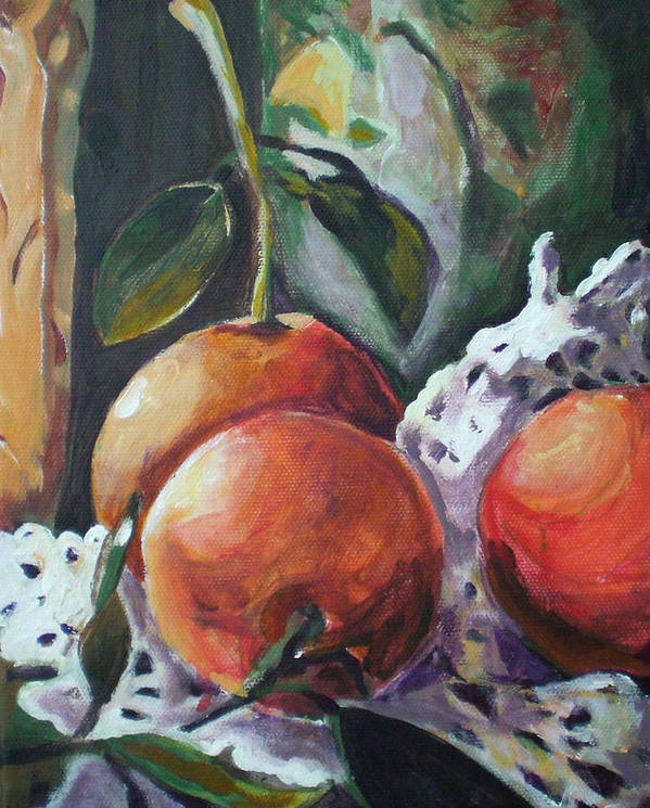 Still Life Poster featuring the painting Three Oranges by Aleksandra Buha