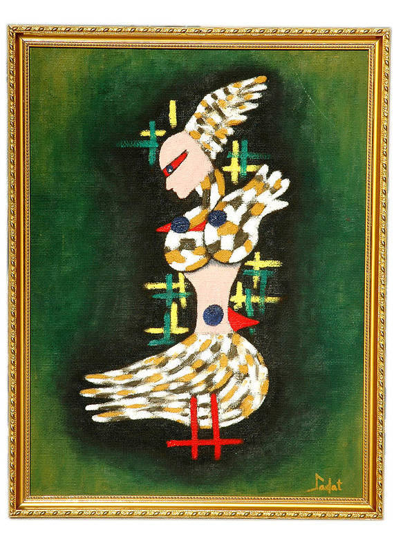Figurative Poster featuring the painting Three Pigeons by Sadat Anwar