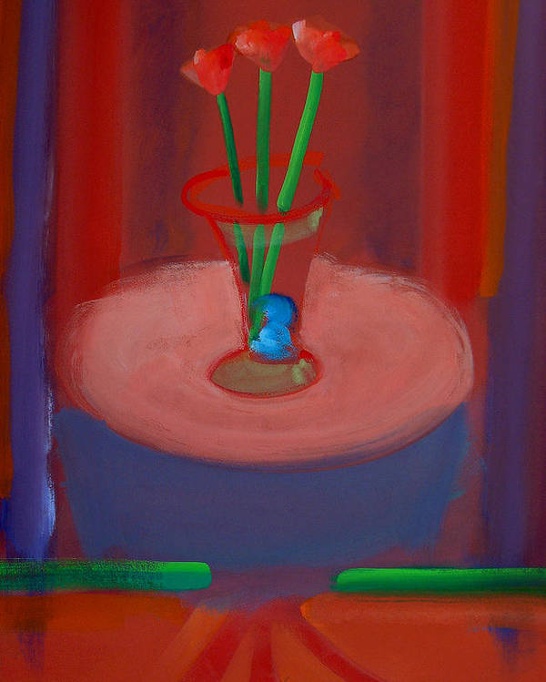 Poppies Poster featuring the painting Three Poppies In A Vase by Charles Stuart