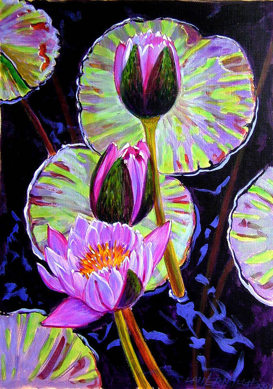 Water Lilies Poster featuring the painting Three Purple Lilies by John Lautermilch