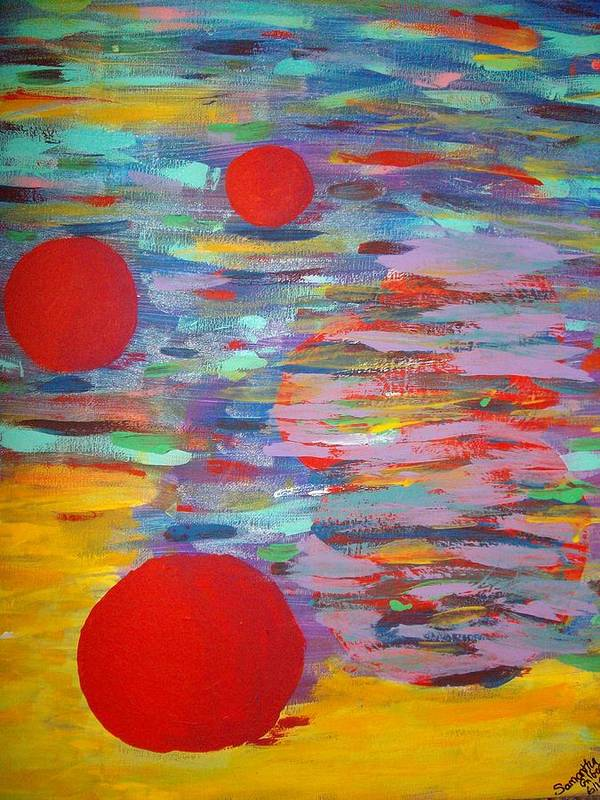 Abstract Poster featuring the painting Three Red Moons by Samantha Gilbert