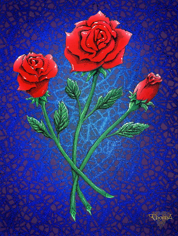 Digital Art Poster featuring the digital art Three Roses by Greg Piszko