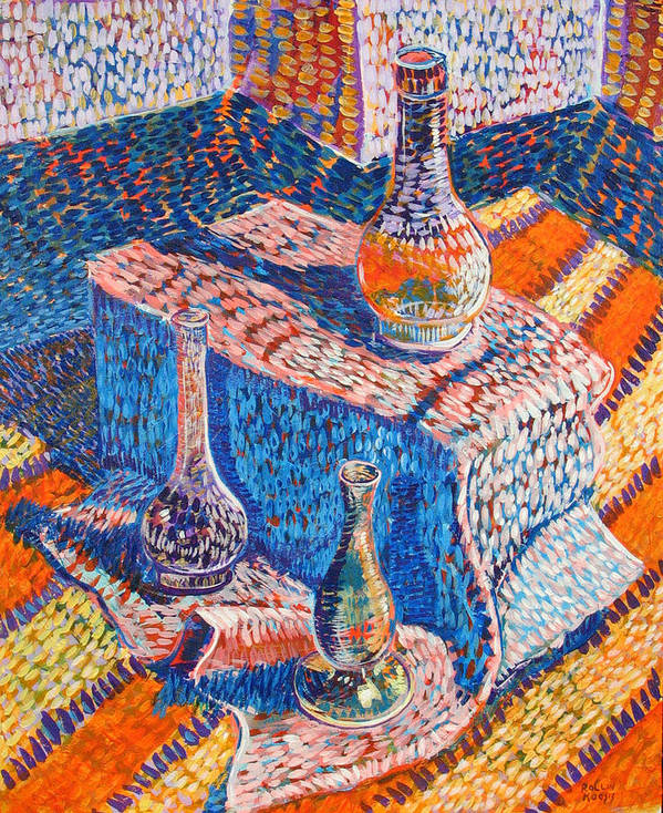 Still Life Poster featuring the painting Three Simple Vases by Rollin Kocsis