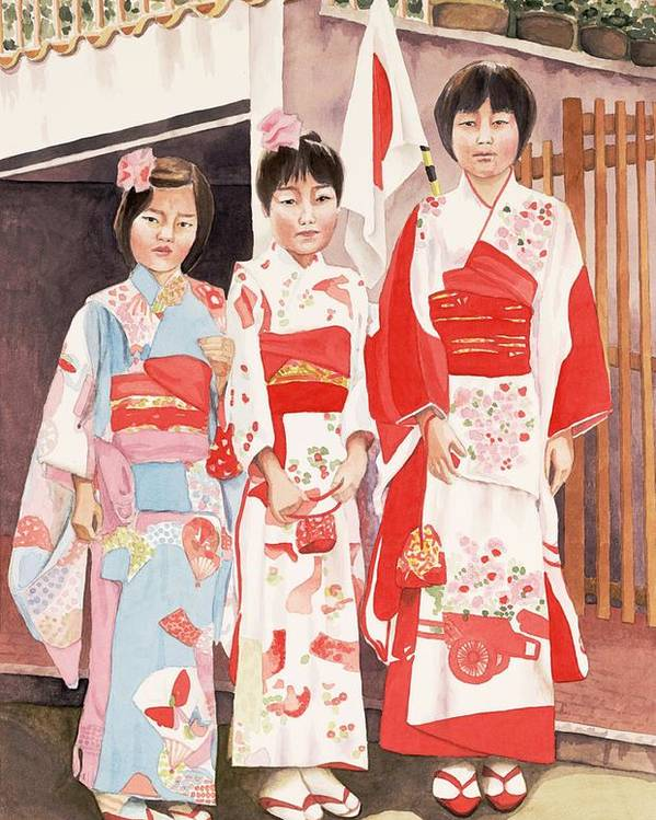 Three Japanese Girls In Kimono Poster featuring the painting Three sisters by Judy Swerlick
