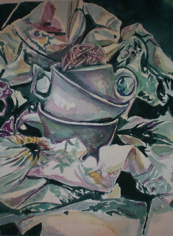 Poster featuring the painting Three Tea Cups by Aleksandra Buha