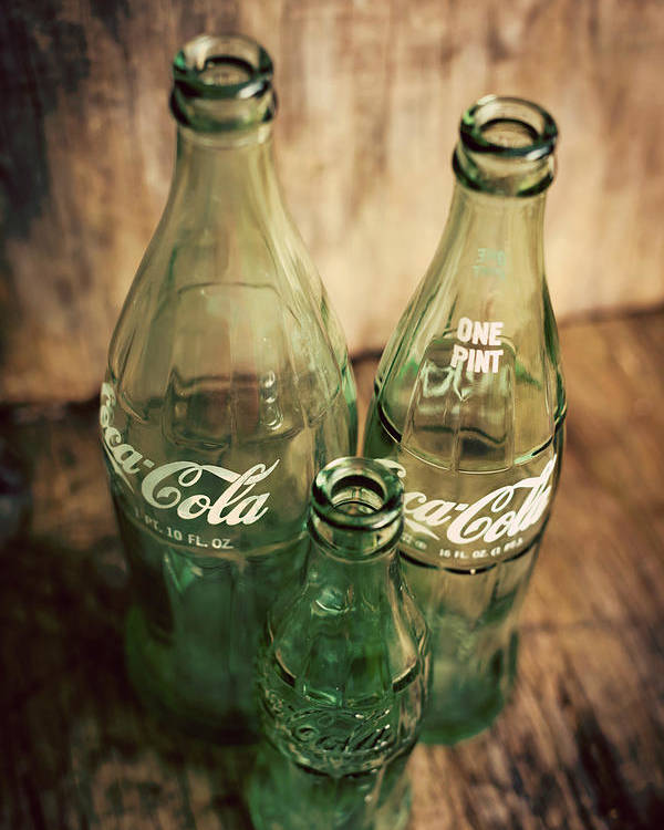 Terry D Photography Poster featuring the photograph Three Vintage Coca Cola Bottles by Terry DeLuco