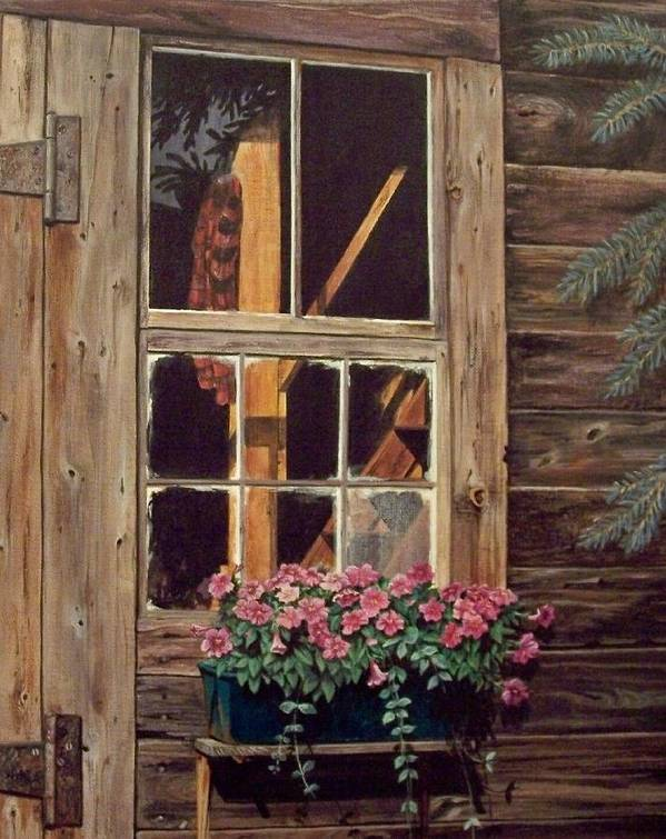 Cabin Poster featuring the painting Through The Cabin Window by Lynda Lawrence