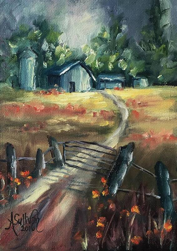 Farm Poster featuring the painting Through The Closed Gate by Angela Sullivan