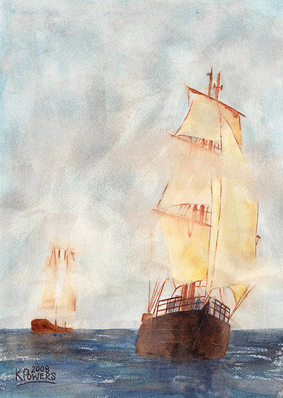 Ship Poster featuring the painting Through The Fog by Ken Powers