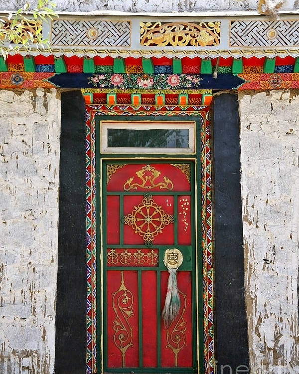 Kate Mckenna Poster featuring the photograph Tibet Red Door by Kate McKenna