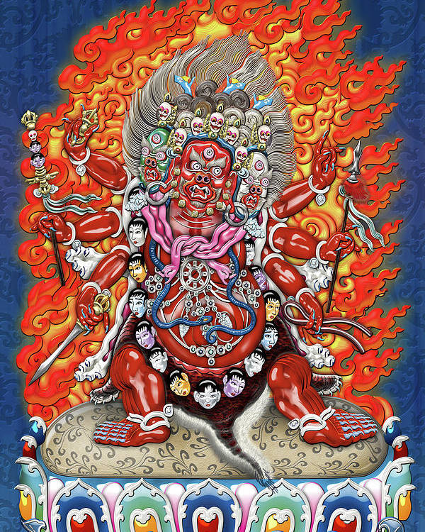 'treasures Of Tibet' Collection By Serge Averbukh Poster featuring the digital art Tibetan Thangka - Wrathful Deity Hayagriva by Serge Averbukh