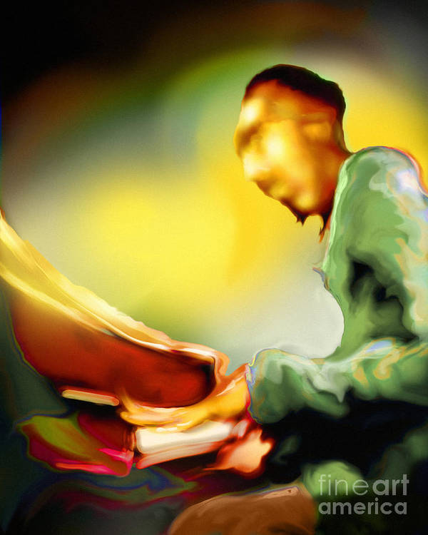 Jazz Art Poster featuring the painting Tickl'n by Mike Massengale