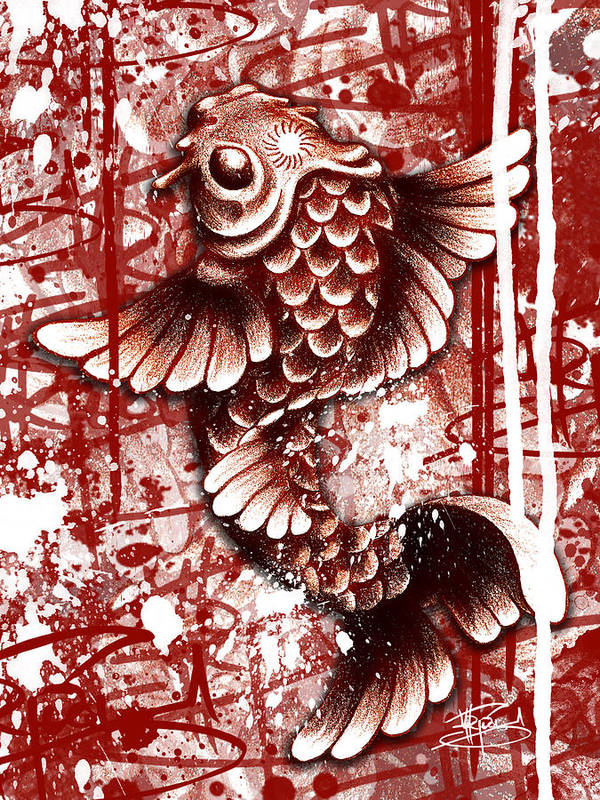 Koi Fish Poster featuring the mixed media Tiffy Koi by Michael Figueroa