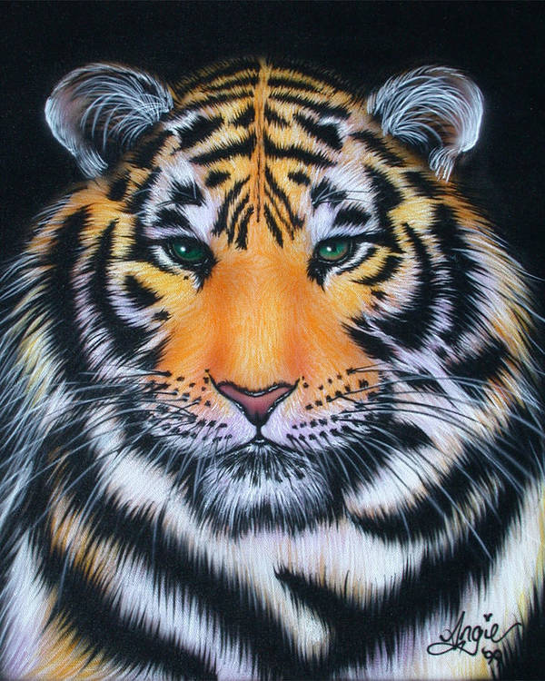 Tiger Poster featuring the painting Tiger 1 by Angie Hamlin