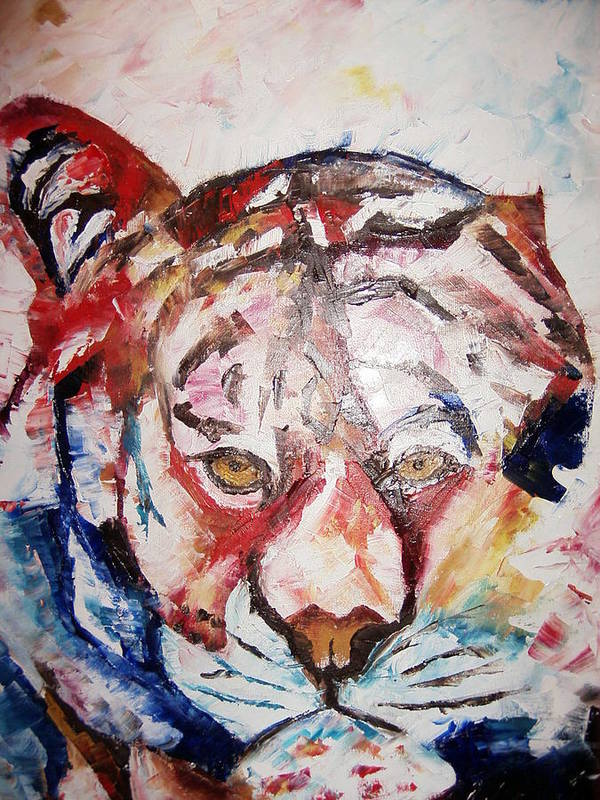 Painting.oil.acrylic Poster featuring the painting Tiger by Adeniyi Peter