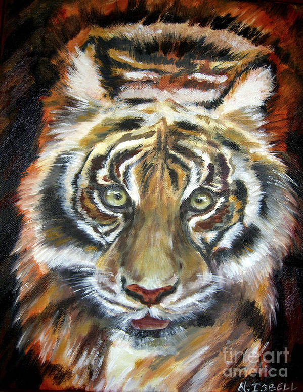 Tiger Poster featuring the painting Tiger by Nancy Isbell