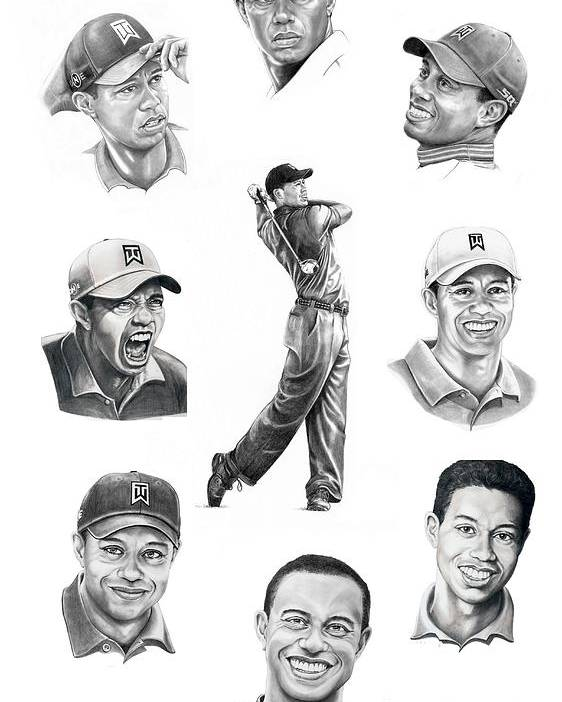 Tiger Woods Poster featuring the drawing Tiger Woods-murphy Elliott by Murphy Elliott