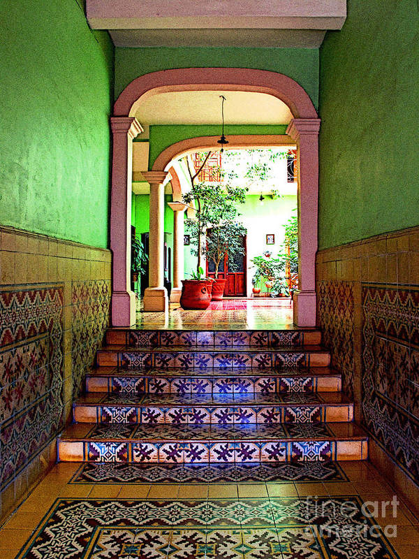 Patzcuaro Poster featuring the photograph Tiled Foyer 2 by Mexicolors Art Photography
