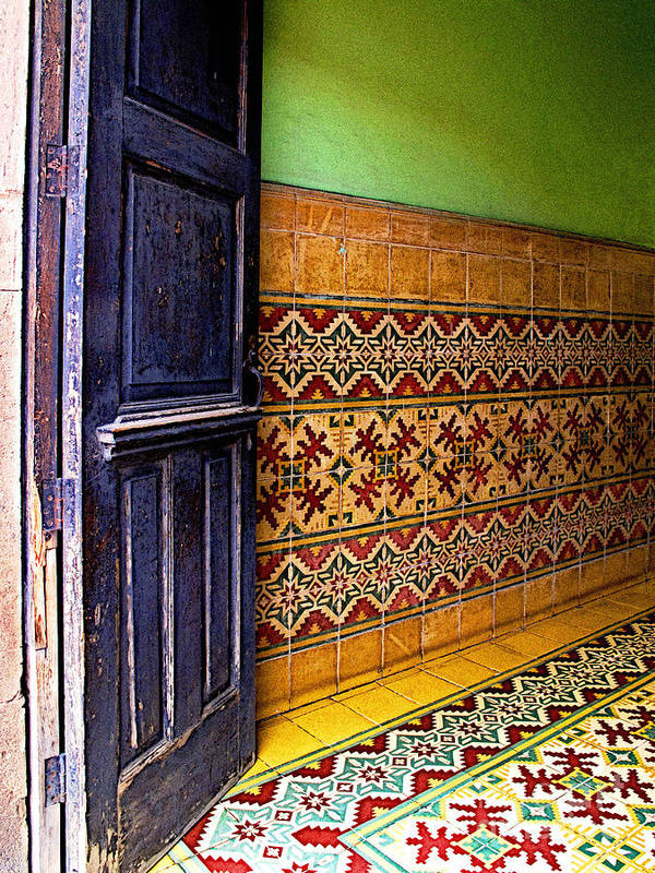 Patzcuaro Poster featuring the photograph Tiled Foyer by Mexicolors Art Photography