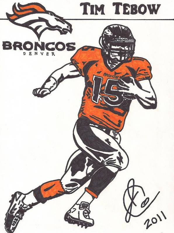 Tim Tebow Drawings Poster featuring the drawing Tim Tebow 1 by Jeremiah Colley