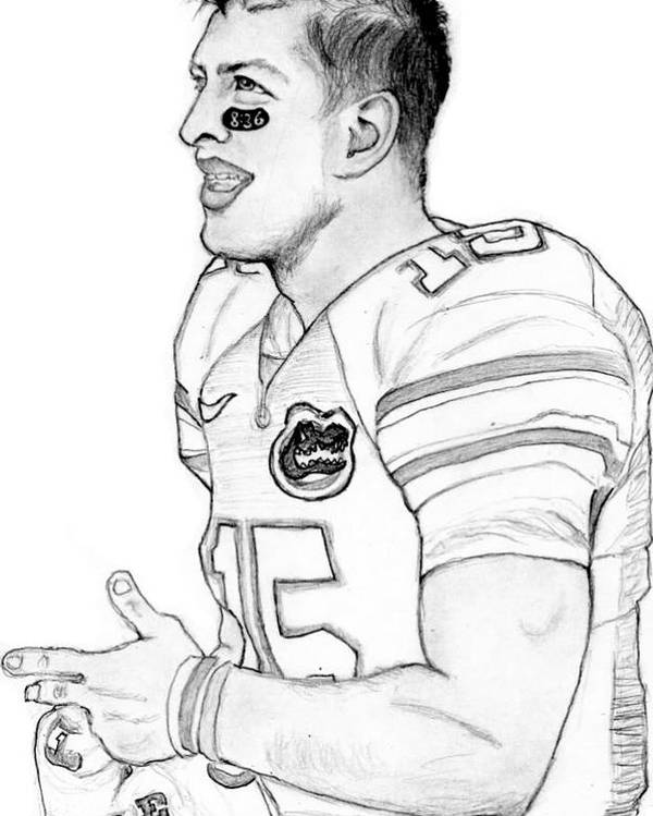 Tim Tebow Poster featuring the drawing Tim Tebow by Kiyana Smith