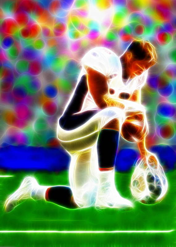 Tim Tebow Poster featuring the painting Tim Tebow Magical Tebowing 2 by Paul Van Scott