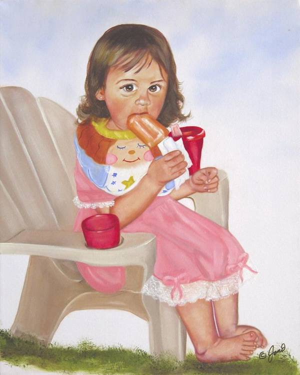 Child Poster featuring the painting Time Out For Ice Cream by Joni McPherson