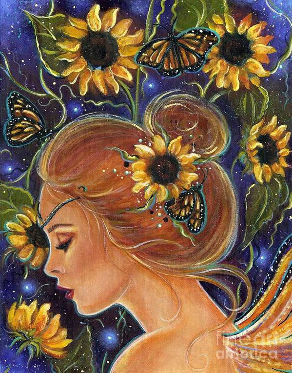 Sunflower Art Poster featuring the painting Time to be free by Renee Lavoie