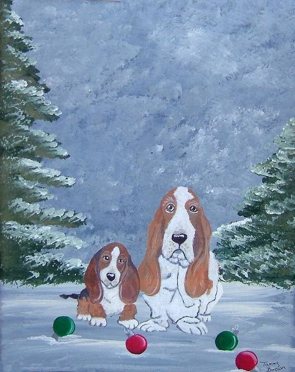 Basset Hound Poster featuring the painting Time To Decorate by Tammy Brown