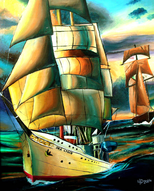 Ship Poster featuring the drawing Timeless by Darcie Duranceau