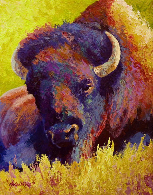 Bison Poster featuring the painting Timeless Spirit - Bison by Marion Rose