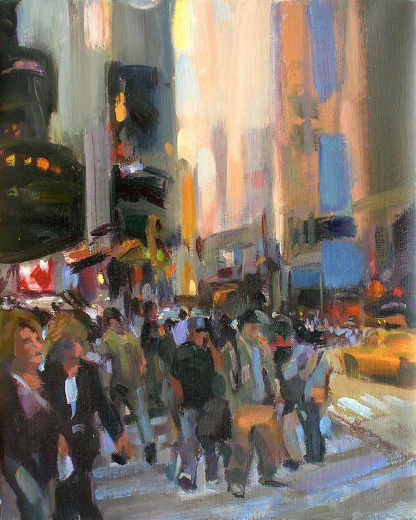 New York Poster featuring the painting Times Square by Merle Keller