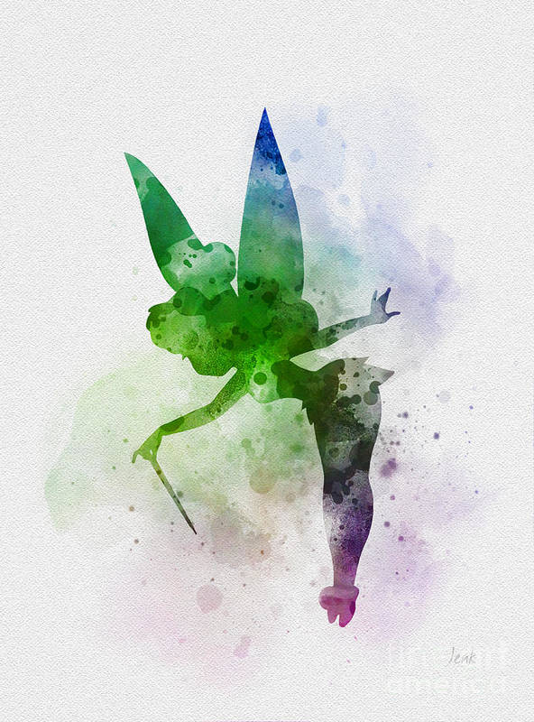 Tinker Bell Poster featuring the mixed media Tinker Bell by Rebecca Jenkins