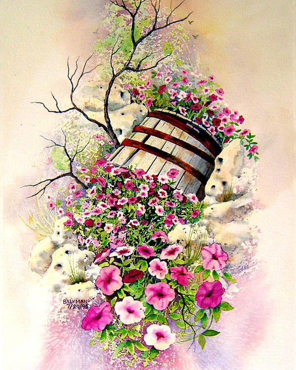 Floral Poster featuring the painting Tipsy Whiskey Barrel by Brooke Lyman