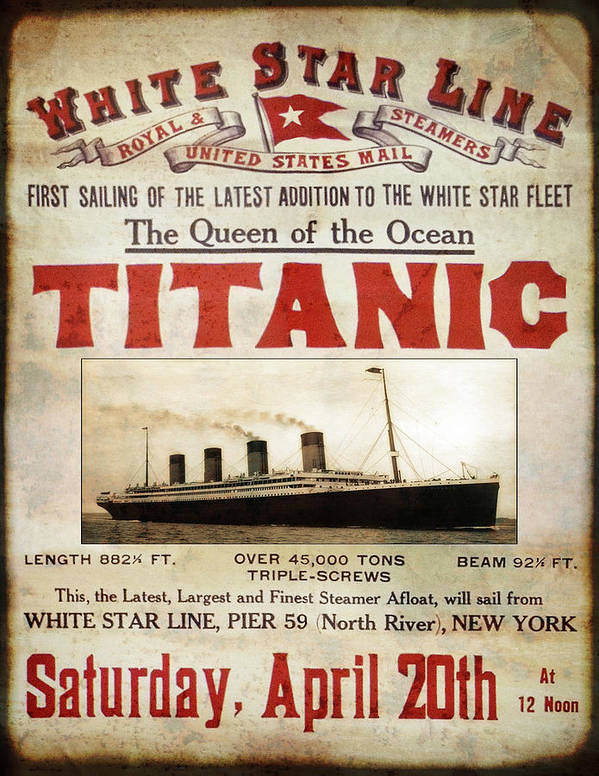 Titanic - Pride Of White Star Line 1912 Poster by Daniel ...