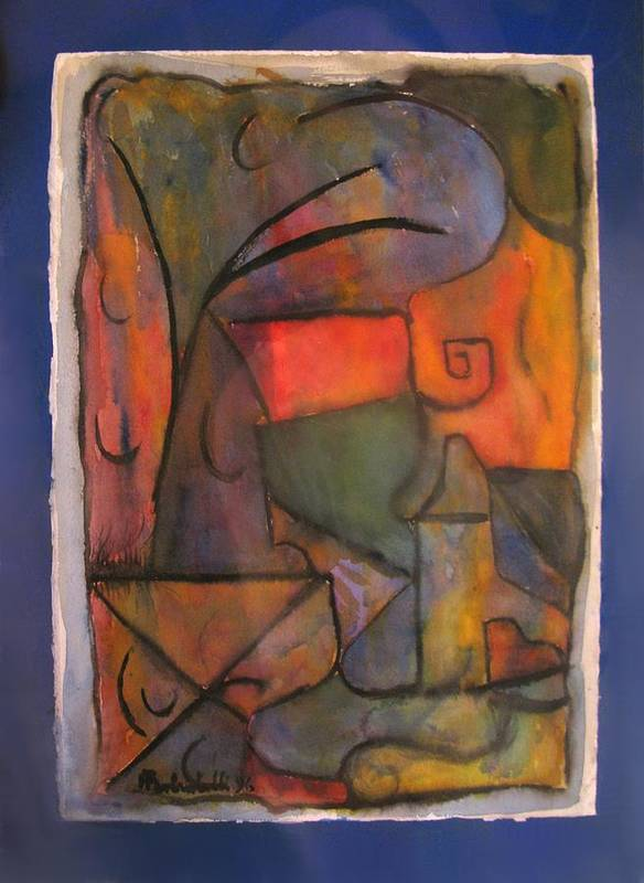 Abstract Canvas Paintings Poster featuring the painting Title - Untitled by Alfonso Robustelli