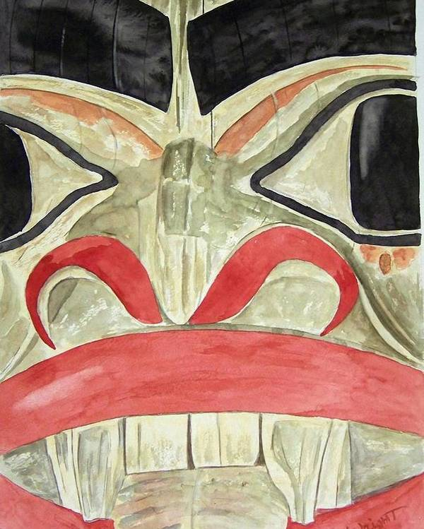Indian Totem Poster featuring the painting Tlingit Clan Beaver by Larry Wright
