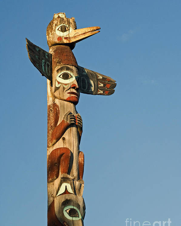 Alaskan Poster featuring the photograph Tlingit Totem Pole by Greg Vaughn - Printscapes