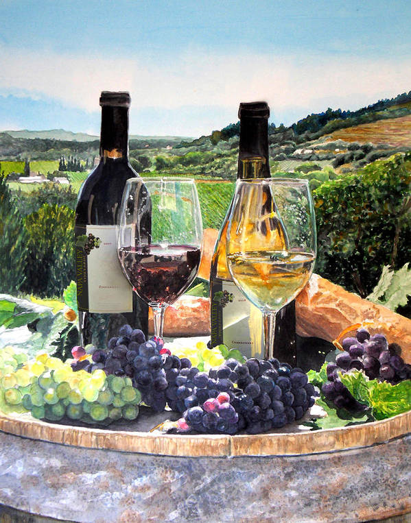 Wine Poster featuring the painting Toast Of The Valley by Gail Chandler