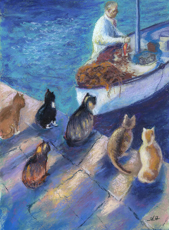 Cat Poster featuring the painting Today's Catch by Helen Hammerman