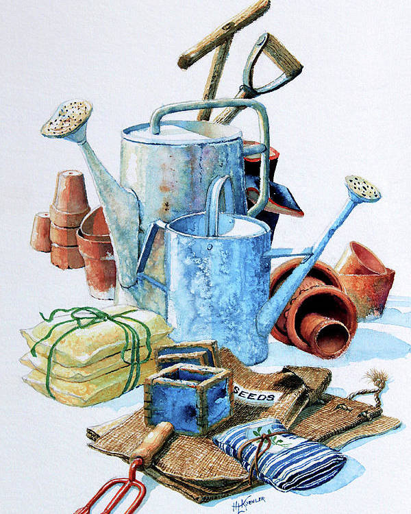 Watering Can Poster featuring the painting Todays Toil Tomorrows Pleasure Iv by Hanne Lore Koehler