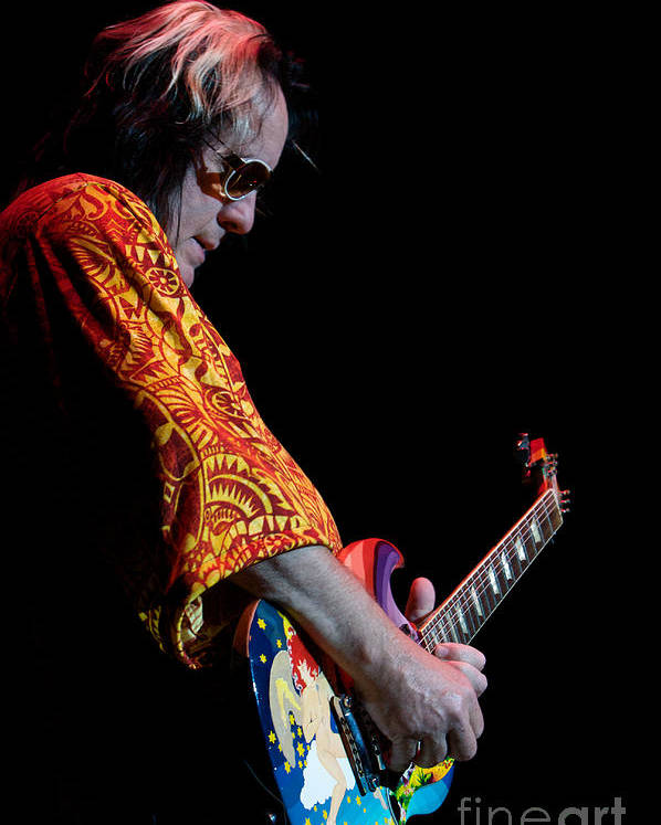 Todd Rundgren Utopia Fool Guitar Guitarist Eric Clapton Fort Pierce Florida Psychedelic Bloomrosen Print Photo T-shirt Poster featuring the photograph Todd Rundgren And The Fool by J Bloomrosen