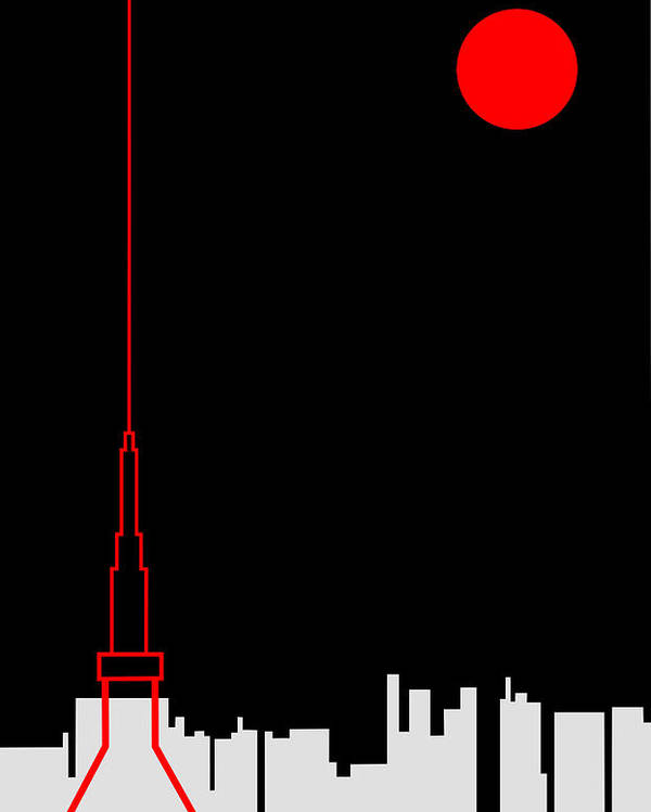 Poster featuring the digital art Tokyo Tower by Asbjorn Lonvig