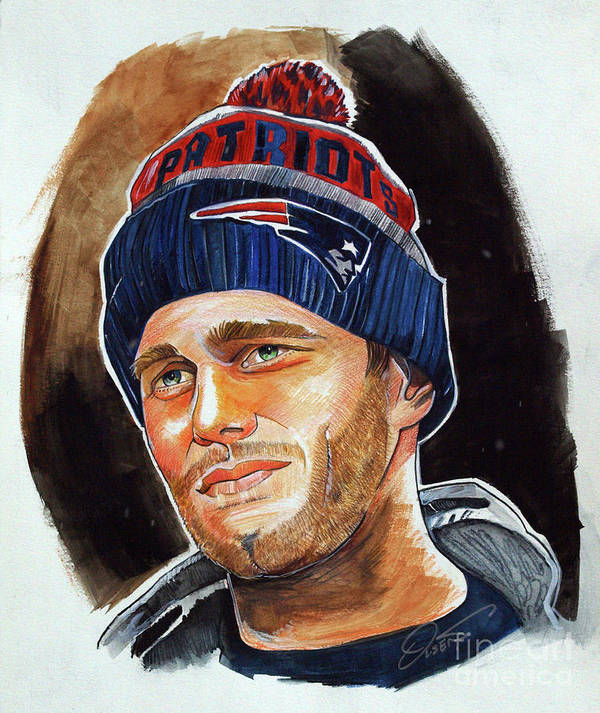 Tom Brady Poster featuring the drawing Tom Brady by Dave Olsen