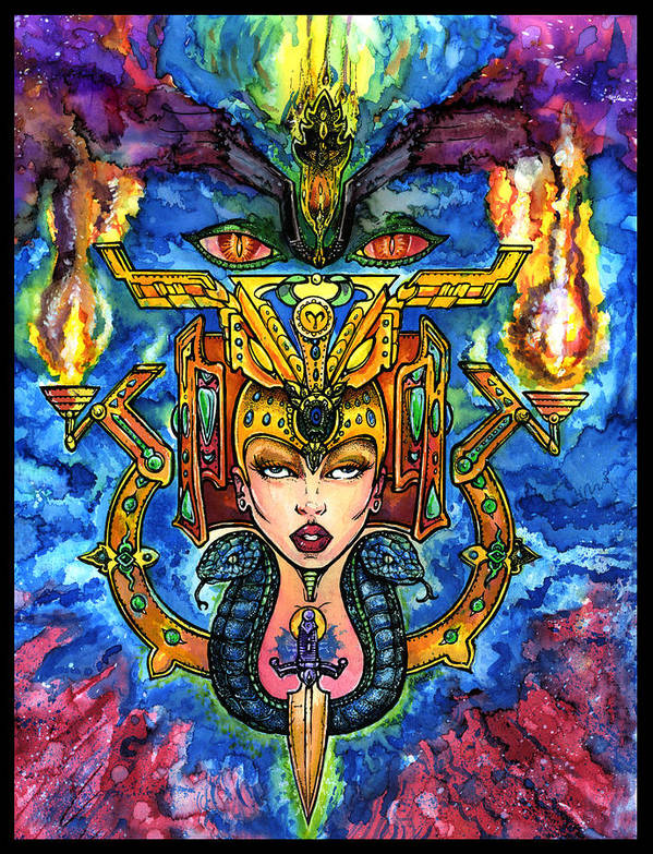 Watercolor Poster featuring the mixed media Fifth Dimensional Insight by Thomas Ambrose DENNEY