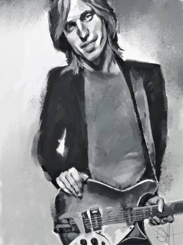 Tom Petty Music Portrait Musician Rock Poster featuring the digital art Tom by Scott Waters