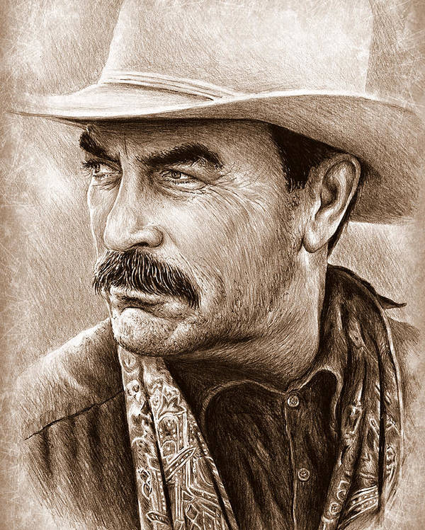 Tom Selleck Poster featuring the painting Tom Selleck The Western Collection by Andrew Read