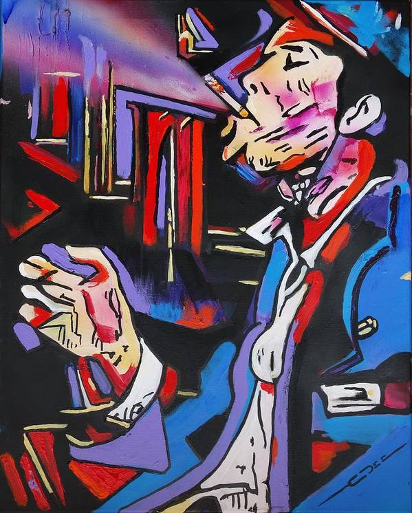 Tom Waits Poster featuring the painting Tom Traubert's Blues by Eric Dee
